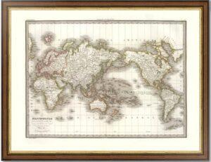 Карта Мира в проекции Меркатора. 1832г. Лапье. (51x64). Антикварный ВИП подарок