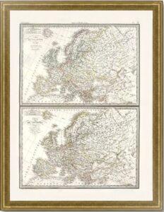 Европа в 1789 и 1831гг.  Лапье. (51x64). 1831г. Старинная карта - антикварный ВИП подарок
