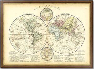 Карта Мира. Глобулярная проекция. 1845г. Старинная карта - антикварный подарок