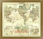 Карта Мира - океанические течения и межконтинентальные коммуникации. 1869г.