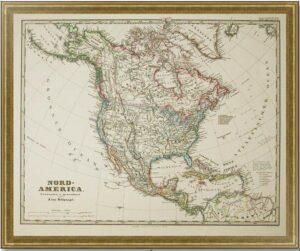 Северная Америка. 1869г. Старинная карта