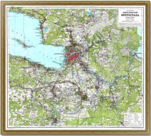 Санкт-Петербург. 1915г. Карта окрестностей Петрограда