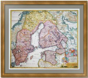 Швеция и северо-запад России. 1716г. Хоманн. Старинная карта. ВИП подарок