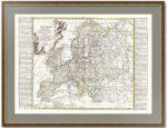 Антикварная карта Европы. 1792г. Лист 56х80! Представительский VIP подарок