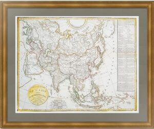 Азия. Старинная карта. 1818г. Вагонди/Деламарш. Антикварный ВИП подарок