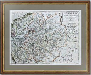 Север Европы. 1818г. Антикварная карта Европы с Россией.