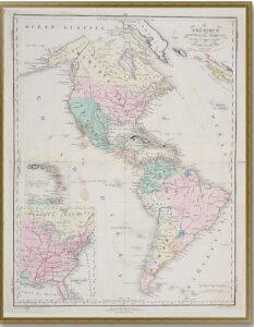 Северная и Южная Америка Готье. 1820-1830гг. Старинная карта