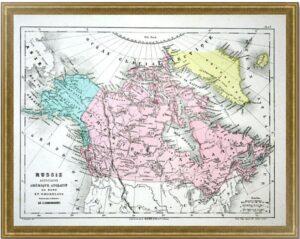 Американская Россия, Северная английская Америка и Гренландия. 1860г. Старинная карта