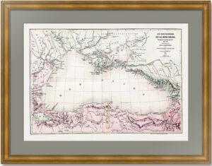 Чёрное море. Театр Крымской войны 1853-1856гг. Шницлер. Старинная карта. 1861г.