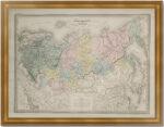 Россия европейская и азиатская. 1867г. Старинная карта. Дуфур/Дионне. (62x90!)