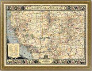 Юго-запад США. 1940г. Старинная декоративная карта