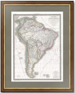 Америка южная. (64x51). 1829 Старинная карта - антикварный ВИП подарок