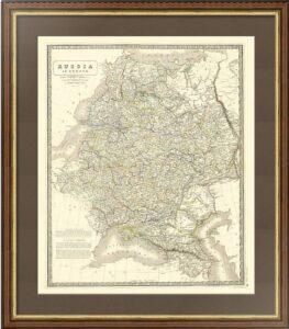Европейская Россия. 1843г. Джонстон. (68х54) Антикварная карта