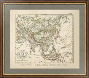 Азия. Империи и страны. 1869г. Штюльпнагель. Старинная карта