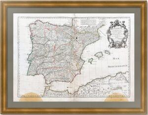Испания и Португалия. 1701г. Сильва/Делиль. Старинная карта. Музейный экземпляр.