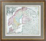 Скандинавия и Россия. 1710г. Хоманн. Редкая старинная карта
