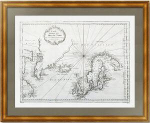 Северная Атлантика. 1758г. Беллин. Антикварная морская обзорная карта
