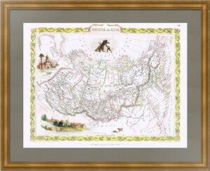 Азиатские  владения Российской империи. 1854г. Таллис. Старинная карта