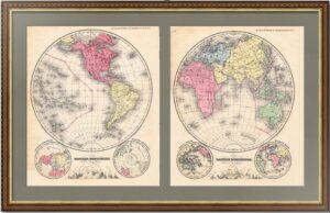 Полушария. 1875г. Две старинные америанские карты.