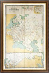 Карта пароходных, железных и почтовых дорог России. 1913г. XXL.