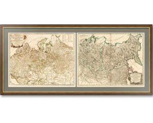Российская империя. Генеральная карта. Вогонди. 1750г. Музейный экземпляр. Два листа