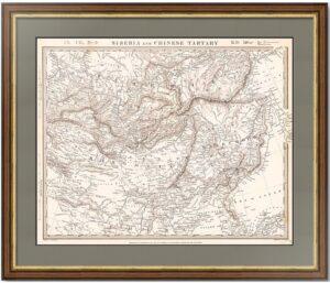 Сибирь и Китайская Тартария 1838г. Старинная карта