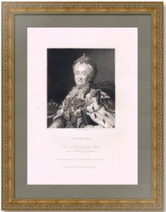 Екатерина II. Портрет. 1853г. Рослин/Вудман. Старинная гравюра. Музейный экземпляр