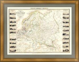Гигантская карта России (в Европе). 1860г. Эффектный редкий VIP подарок в кабинет