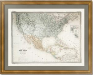 Мексика и США. Дуфур/Дионне. 1867г. Старинная карта. (62x90!)