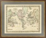 Карта мира. Америка в центре в проекции Меркатора. 1871г.