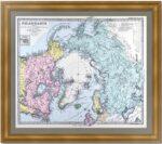 Северный полюс. Полярная карта. 1875г. Штилер. Антикварный подарок
