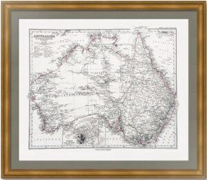 Австралия. 1881г. Антикварная карта