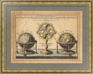 Сферы (глобусы). 1705г. Де Фер / ван Лоон. Старинная оригинальная гравюра - ВИП подарок
