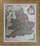 Англия и Уэльс. 1715г. Де Вит/Мортье. Антикварная карта. Музейный экземпляр