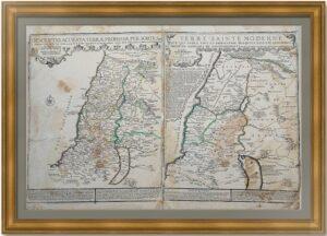 Израиль (Terre Sainte). Антикварная карта. 1720 г. Рю/Фер. Музейный экземпляр