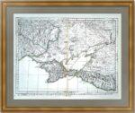 Крым и северное побережье Чёрного моря с прилегающими территориями. 1777г. Старинная карта.