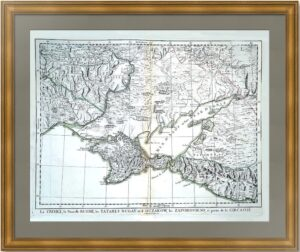 Крым и север Чёрного моря с прилегающими территориями. 1777г. Старинная карта.