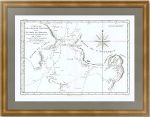 Берингов пролив согласно исследованиям Кука и Клерка. 1788г. Старинная карта