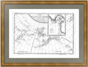 Побережья Америки и Азии согласно исследованиям Кука и Клерка. 1788г. Старинная карта
