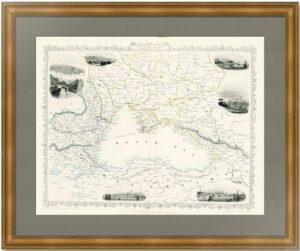 Чёрное Море. 1855г. Уинклс/Рапкин. Старинная карта