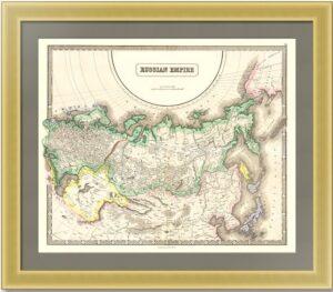 Российская империя в Европе, Азии и Америке. 1858г. Старинная карта. Лист 54х68