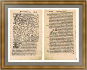 Московия - земля московитов. 1588г. Мюнстер. Старинная карта - антикварный подарок