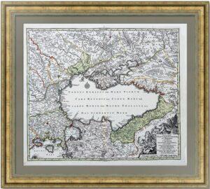 Чёрное море. 1730г. Зойтер. Старинная карта. Музейный экземпляр