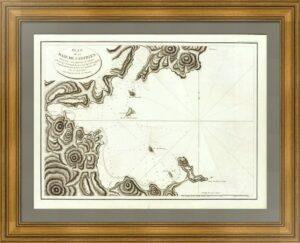 Россия. Залив Чихачёва (Де-Кастри). 1797г. Старинная морская карта Лаперуза (57x85)