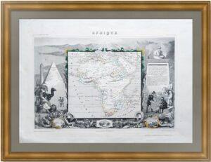 Африка. Старинная карта. 1852г. Левассёр. Антикварный VIP подарок руководителю в кабинет