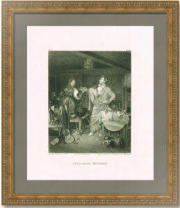 Утро после пирушки (Свежий кавалер). 1863г. Старинная гравюра