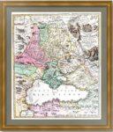 1720г. Черное море, Крым, Великороссия и Малороссия.  Хоманн. Старинная гравюра