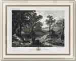 Пейзаж с отдыхающими нимфами (Европа). 1776г. Бриль. Музейный экземпляр. Гравюра.