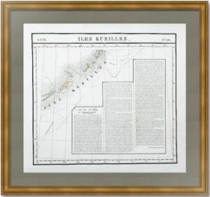 Курильские острова. 1827г. Старинная карта. (54x68)
