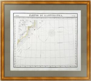 Часть Камчатки. 1827г. Старинная карта. (54x68)